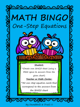 One-Step Equations MATH Bingo