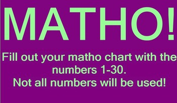 One Step Equations MATHO (Bingo)