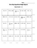 One-Step Equations Magic Square