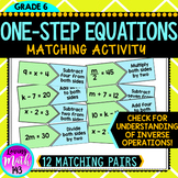 One-Step Equations Matching Activity