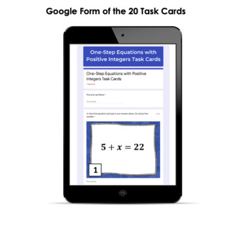 One-Step Equations Task Cards CCS 6.EE.B.5