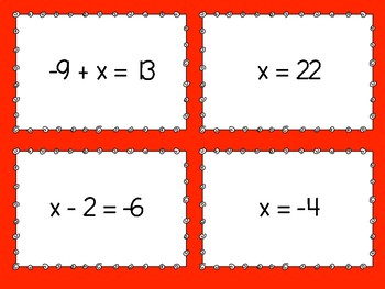 One Step Equations Matching Game - Level 3
