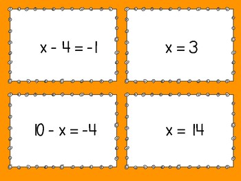 One Step Equations Matching Games - BUNDLE!