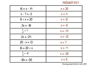 One Step Equations Matching Worksheet