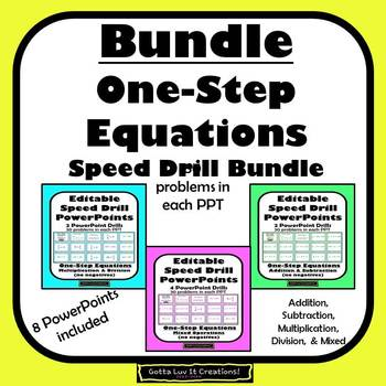 Solving Equations One Step Equations Activity Fluency Editable Product