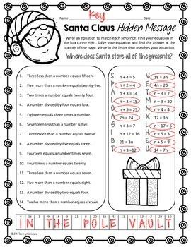 One-Step Equations Math Puzzle - Santa Claus!