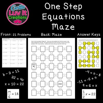 Solving Equations One Step Equations Activity Includes Negatives 2 Mazes