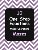 One-Step Equations Maze - Addition, Subtraction, Multiplic