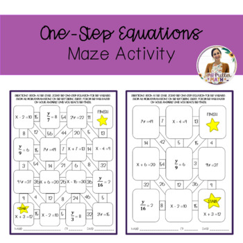 One-Step Equations Maze Activity