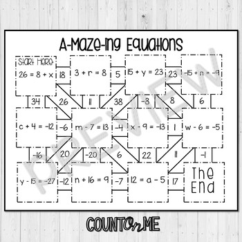 One Step Equations Maze - Addition and Subtraction with Negatives