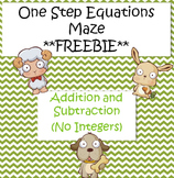 One Step Equations Maze (Addition/Subtraction) **FREEBIE**