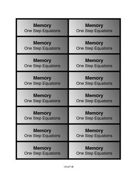 One-Step Equations Memory Game: Bundled Version