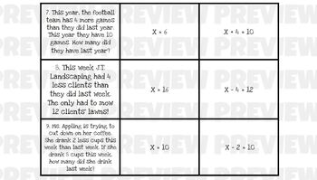 One-Step Equations Mix-N-Match (adding and Subtracting)