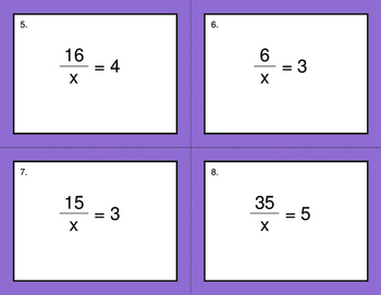 One Step Equations (Mixed Operations) - BINGO and Task Cards