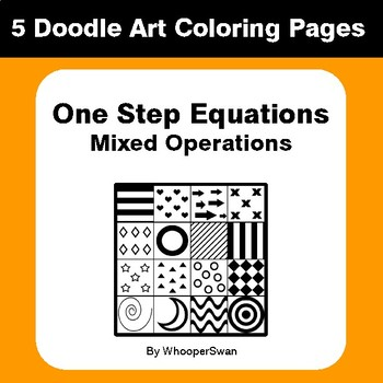 One Step Equations: Mixed Operations - Coloring Pages | Doodle Art Math