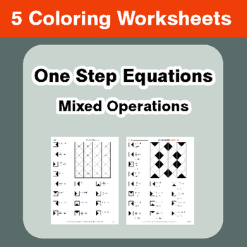 One Step Equations: Mixed Operations - Coloring Worksheets