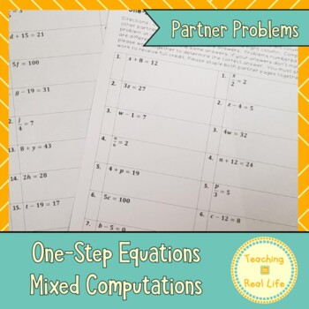 One Step Equations: Mixed Operations Partner Problems