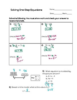 One-Step Equations - Modeling and Solving Practice