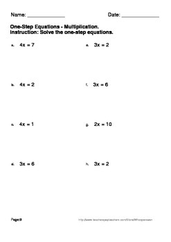 One Step Equations Multiplication Division Worksheets By Whooperswan
