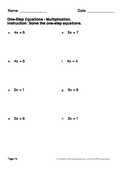 One Step Equations - Multiplication & Division Worksheets
