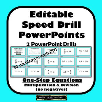Editable One Step Equations Multiplication & Division Fluency
