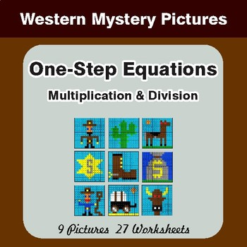 One Step Equations: Multiplication & Division - Color-By-Number Math Mystery Pictures