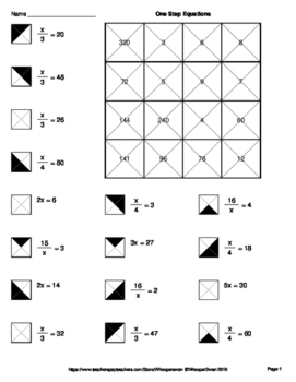One Step Equations Multiplication Division Coloring Worksheets