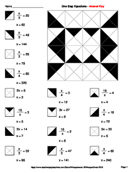 Step Equations: Multiplication & Division - Coloring Worksheets