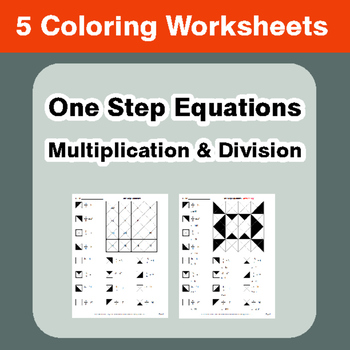 One Step Equations: Multiplication & Division - Coloring W