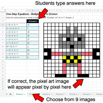 One-Step Equations - Multiplication & Division - Google Sheets - Robots