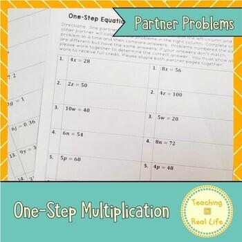 One Step Equations: Multiplication Partner Problems
