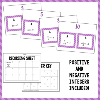 Multiplication and Division One Step Equations Partner Activity
