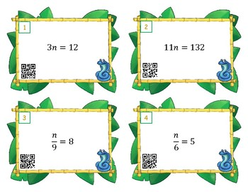 One Step Equations Multiply Divide Scoot or Task Cards