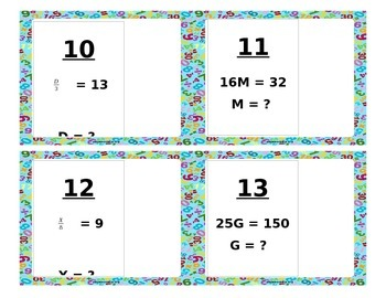 One Step Equations (Multiply and Divide) Task Cards