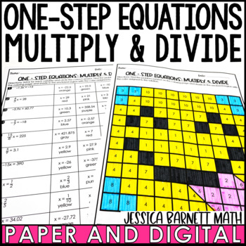 One Step Equations Multiply and Divide with Rational Numbers Coloring Activity