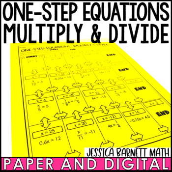 One Step Equations Multiply and Divide with Rational Numbers Maze Activity
