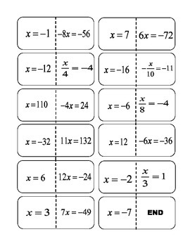 One Step Equations Multiply/Divide Integer Solutions