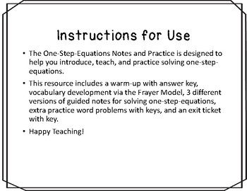 One-Step-Equations Notes and Practice Resources
