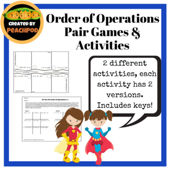 One Step Equations Pair Games/Activities