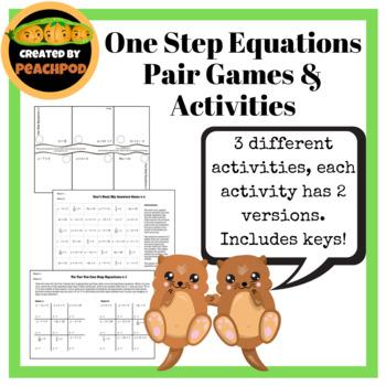 One Step Equations Pair Games/Activitjies