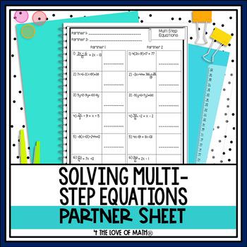 Multi Step Equations: Partner Activity