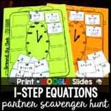 1-Step Equations Partner Scavenger Hunt w/GOOGLE for dista
