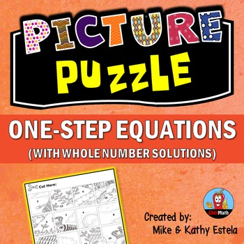 One-Step Equations Picture Puzzle (with Whole Number Solutions)