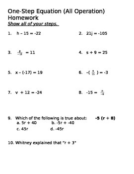 One Step Equations Practice