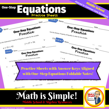One-Step Equations Practice Pages