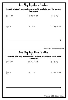 One-Step Equations Practice with Number Lines