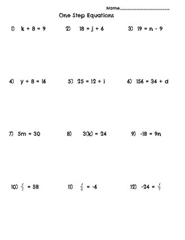 One Step Equations Problems