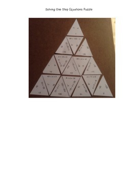 One Step Equations Puzzle