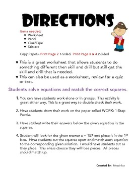 One Step Equations Puzzle Squares by Math Worksheets by Myssir | TpT
