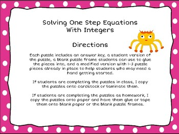 One Step Equations Puzzles - 3 Levels